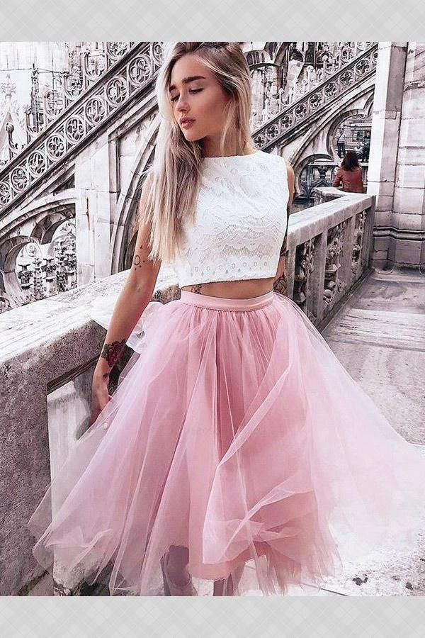 7acf0175b6c7 Prom Dress Lace #PromDressLace, Pink Prom Dress #PinkPromDress, Homecoming  Dresses Two Piece #HomecomingDressesTwoPiece Homecoming Dresses 2018