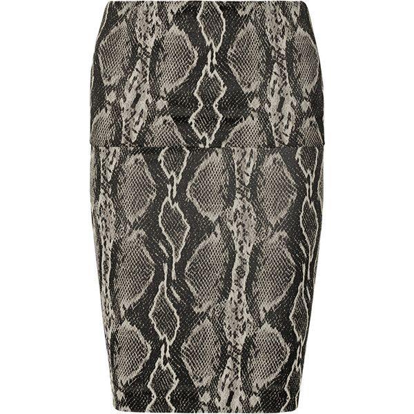 Donna Karan Modern Icons snake-print woven tube skirt (€190) ❤ liked on Polyvore featuring skirts, black, tube skirt, donna karan, knee length skirts, snake print skirt and python skirt