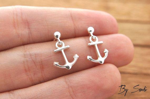 Sterling Silver anchor earrings, delicate anchor, anchor earrings, silver anchor, delicate silver, small anchor, rudder, marine, marine earr