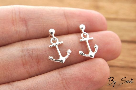 Sterling Silver anchor earrings, delicate anchor, anchor earrings, silver anchor, delicate silver, small anchor, rudder, marine, marine earr
