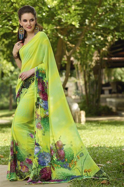 Trendy Lime Georgette Floral Print Saree