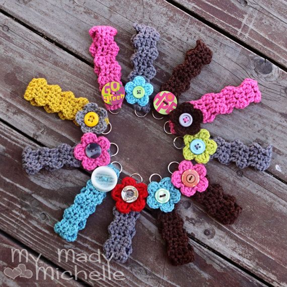Crochet Key Chain Bracelet with Flower and by mymadymichelle, $4.99