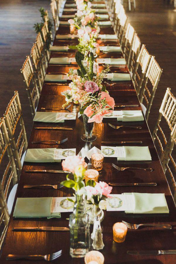 indoor garden wedding tablescape - photo by Jason Hales Photography http://ruffledblog.com/romantic-atlanta-wedding-at-summerour