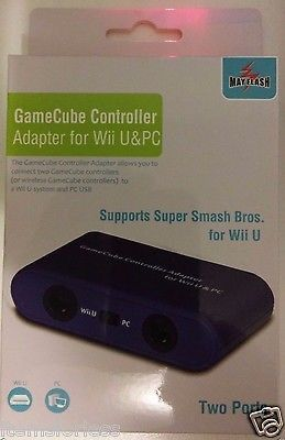 "BRAND NEW 1.The GameCube Controller Adapter allows you to connect up to two GameCube controllers (or wireless GameCube controllers) to a Wii U system and PC USB. 2.Switch to ""Wii U"" or ""PC"" mode by us"