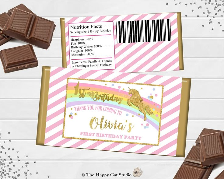 Printable Unicorn Chocolate Bar Wrappers, 1st Birthday, Personalized, Candy Bar Wrappers, Party Favor, Pink and Gold, Baby Shower, Baptism by TheHappyCatStudio on Etsy