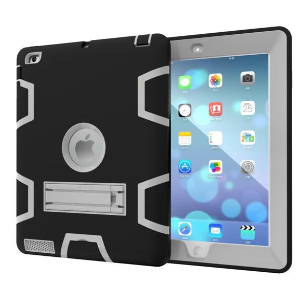 For Apple iPad2 iPad3 iPad4 Kids Safe Armor Shockproof Heavy Duty Silicon+PC Stand Back Case Cover For ipad 2 3 4 Tablet PC