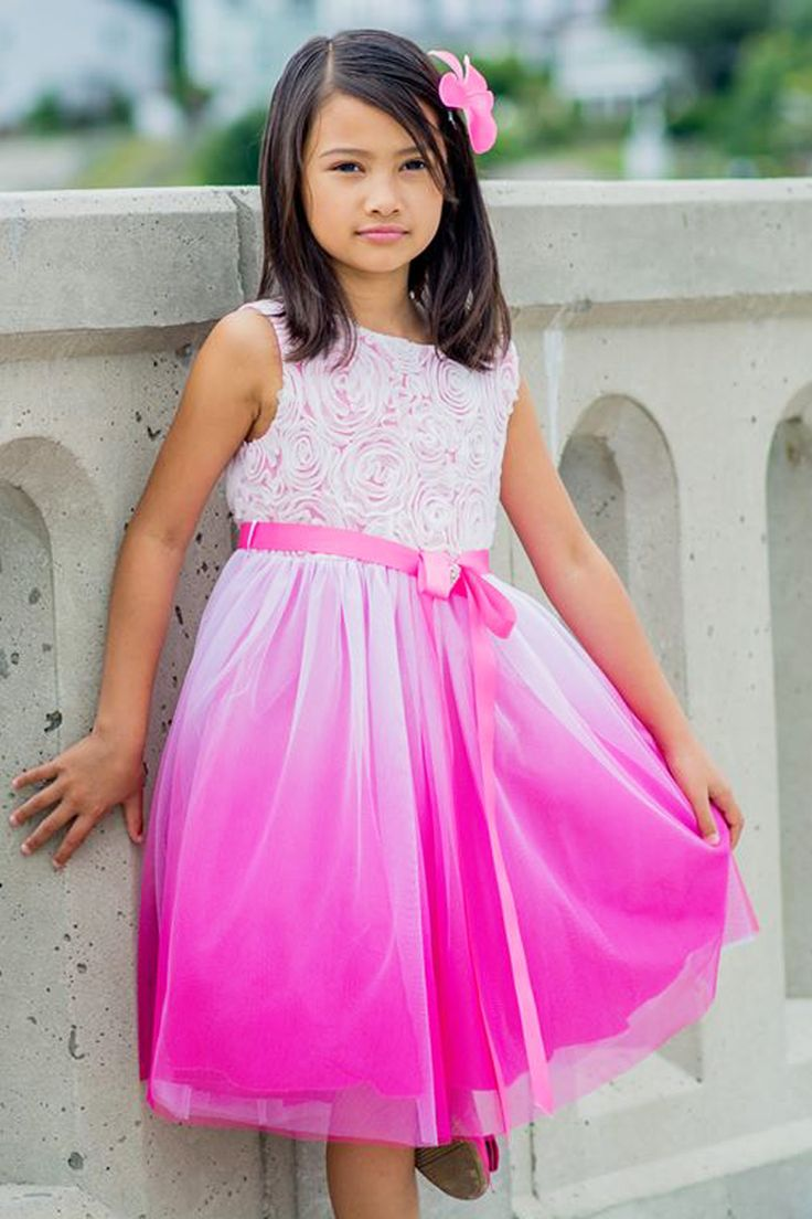 Fuchsia Pink Ombre Dyed Tulle Dress with Floral Ribbon Bodice (Girls Sizes 2T - 14)
