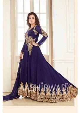 couleur georgette bleu, costume Anarkali net, - 128,00 €, #AnarkaliCostumePasCher #EnLigneCostume #TenueIndou2016 #Shopkund