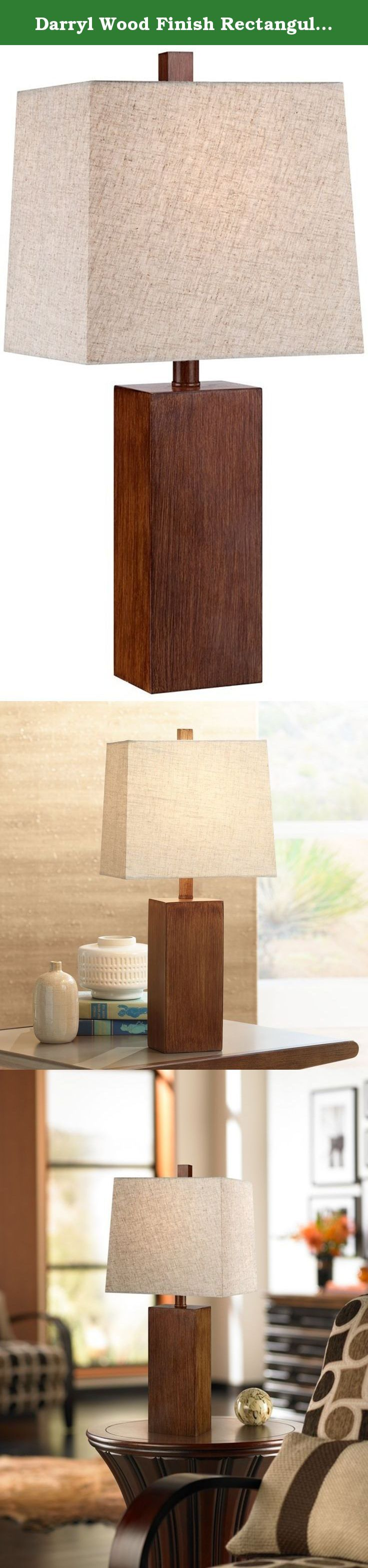 Darryl Wood Finish Rectangular Table Lamp. A handsome accent for any modern or Craftsman style home, the Darryl table lamp features a clean, linear design with a rich wood finish. The rectangular shade up top mimics the organic feel of the design while diffusing the glow from the light bulb. Place on top of a nightstand, desk, or console table for illumination in sophisticated style. A 360 Lighting design. - Rectangular block table lamp. - Faux wood finish. - Rectangular shade. - On-off...