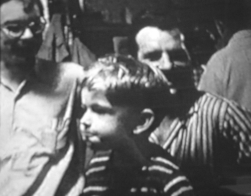 Jack Kerouac with Lucien and Caleb Carr, in the Harmony Bar, NYC, summer 1959.  Caleb Carr is now the successful author of The Alienist, The Angel of Darkness, The Italian Secretary, and others.