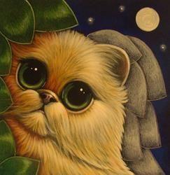 Art: GINGER PERSIAN ANGEL CAT 5 X 5 by Artist Cyra R. Cancel
