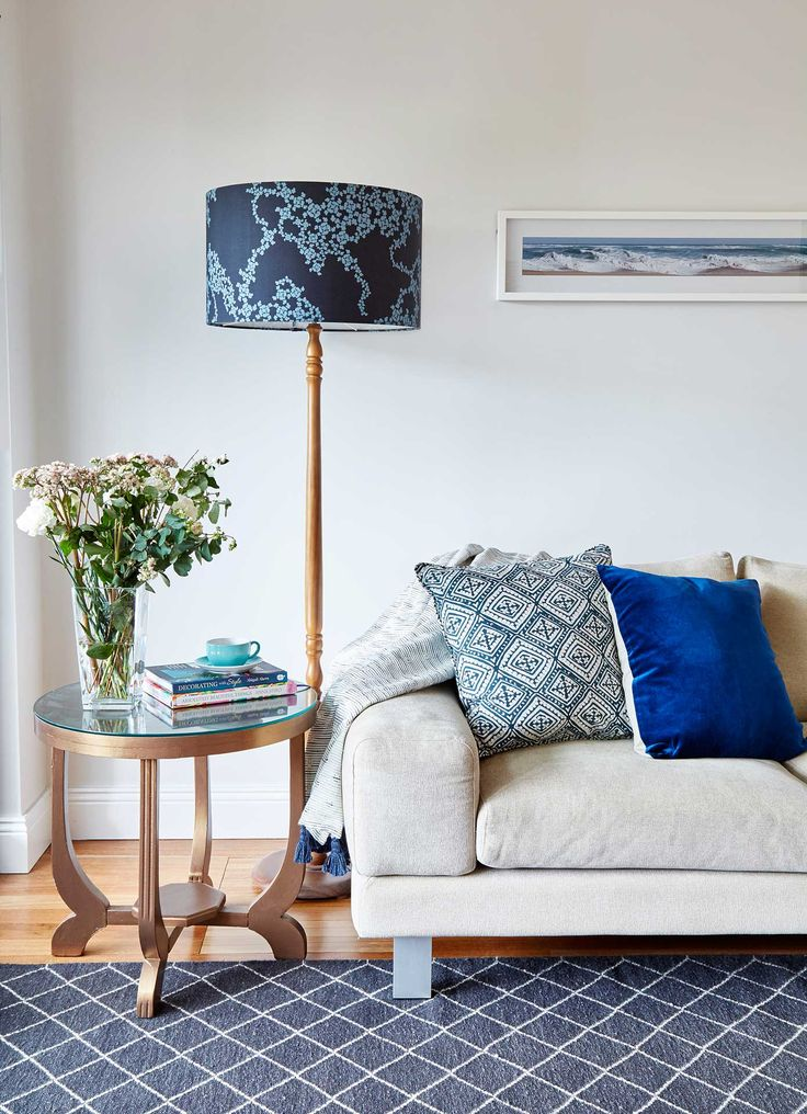Shades of blue in this living room scheme.