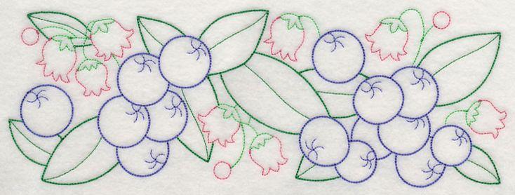 Bursting Blueberry Border (Vintage) design (J4532) from www.Emblibrary.com