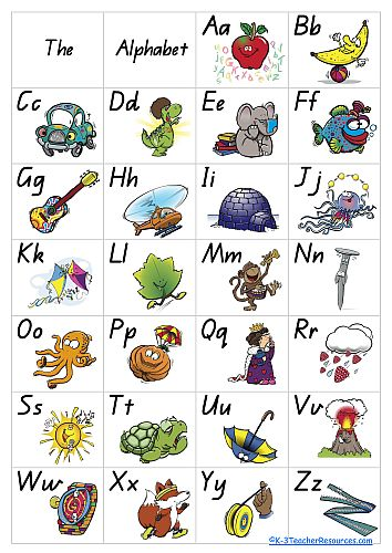 A4 Alphabet Poster, 8 pages, pictures and letters, just pictures, matching phrases, just letters, just uppercase, just lowercase, colour or b and w. FREEBIE
