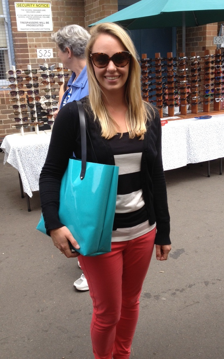 Kate with her brand new patent leather Charlie 68 Tote bag. $259.  Buy it here: http://www.charliemiddleton.com