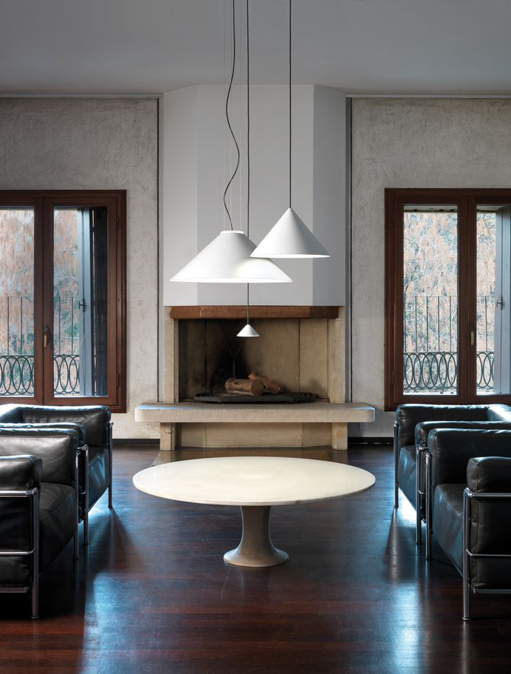 """Cone is a collection of pendant lamps with a basic shape expressing the downward lighting iconography. Available in three size, the smaller one can be in serial or clusters compositions, while the largest is also for direct and indirect lighting. """" #andcosta #andcostalamps #andcostalight #lamps #design #interiordesign #architecture #suspensionlamp #suspension #livingroom"""