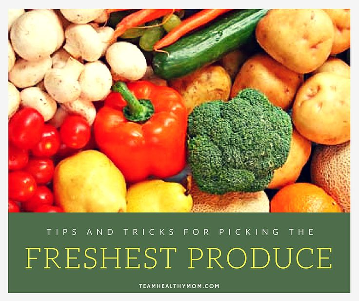 Fresh produce is higher in vitamins and nutrients so use this guide to help you pick the freshest produce. Many different fruits and vegetables are listed with detailed information on how to choose them from the grocery store. Learn how to buy the sweetest watermelon and juiciest pineapple. teamhealthymom.com