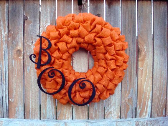 Halloween BOO Orange Burlap Wreath by TheLilacDoor on Etsy