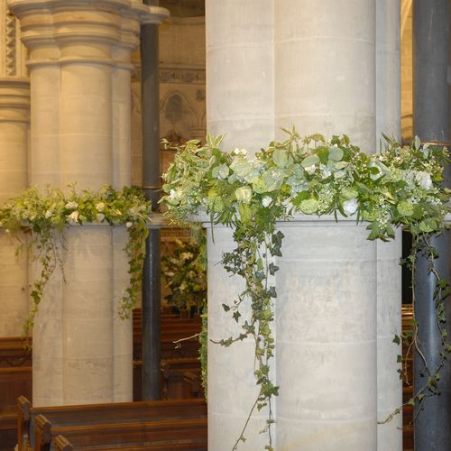 Pillar Detail In Church.Not This Style But Just Idea Of Wrapping Pillars  With Flowers And Foliage