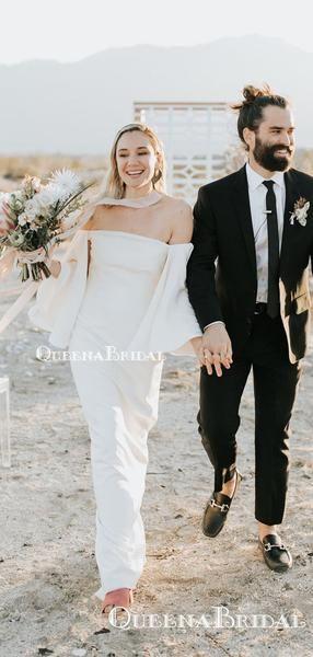 Off-The-Shoulder Long Sleeves Charming Simple Long Cheap Mermaid Wedding Dresses, QB0940
