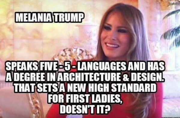"Melania is the real picture of what ""Independent American Woman"" means.  Not play-like feminine rights persona.  Killing babies because you had sex (unprotected) & a baby is an inconvenience, IS NOT RESPONSIBLE NOR MATURE enough to be called Independent Woman.  Grow Up, Americas Women."