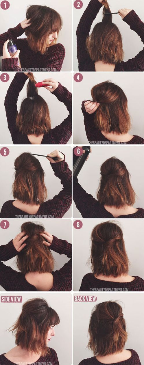 Simple Half Updo For Bob Tutorial