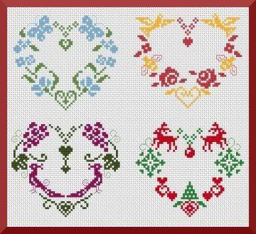 Seasonal Heart Designs - lots of free cross-stitch patterns available