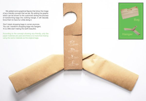 H+BAG - Yanko design. From a brown paperbag to a hanger: Brown Paper Bags, Idea, Inspiration, Packaging, Origami, Hanger Bag