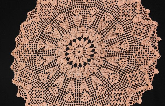 Salmon crochet doily in flowers by NatureAnesthesia on Etsy
