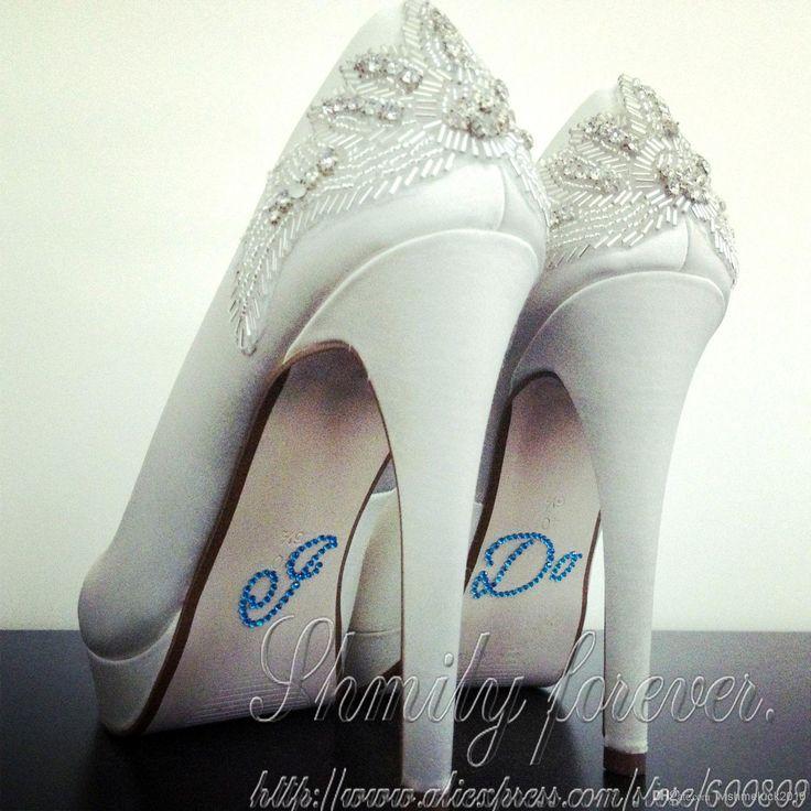 I DO Blue Diamante Crystal Bridal Wedding Shoe Decoration Sticker