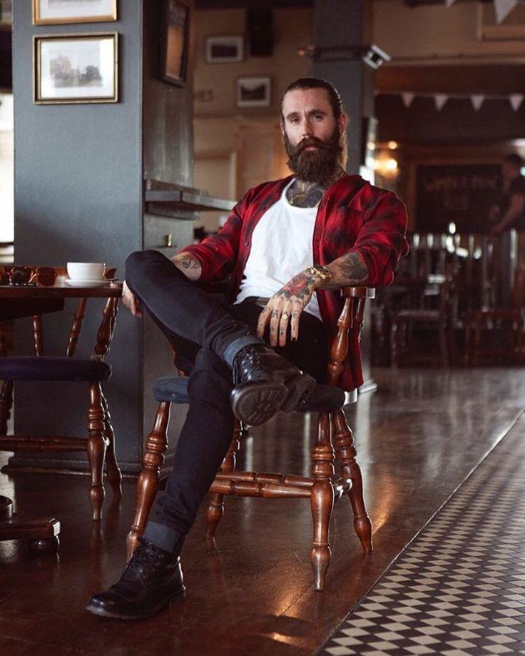 Ricki Hall - full thick dark beard mustache beards bearded man men mens' style clothing fashion winter fall tattoos tattooed bearding #beardsforever