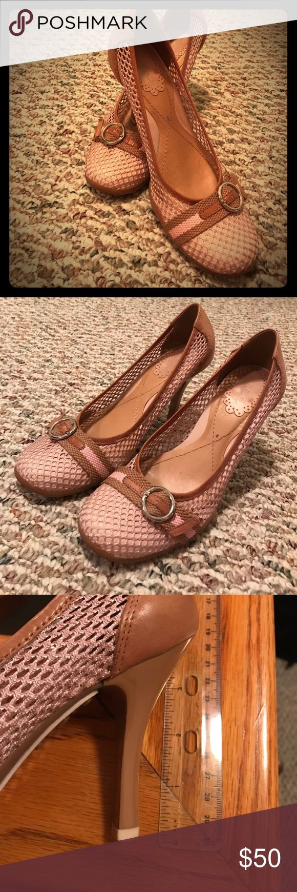"Aldo heels Pink and camel 3"" inch heeled pump. It's mesh fabric with a buckle; loved but always too small. Aldo Shoes Heels"