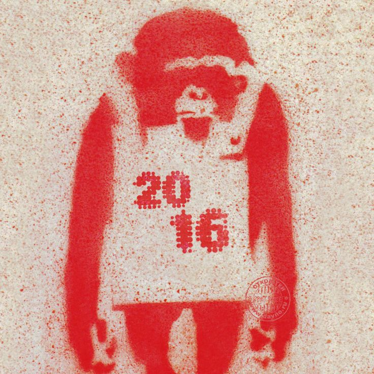 Креативная открытка в год красной обезьяны