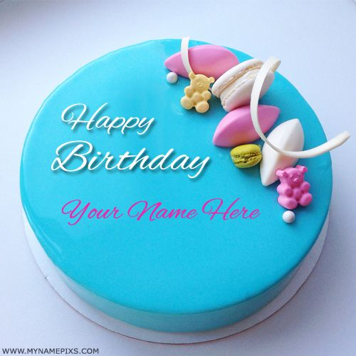 Make Birthday Wishes Online By Printing Name On CakeBeautiful Skyblue Cake With NameWhite Donuts Decorated Friend