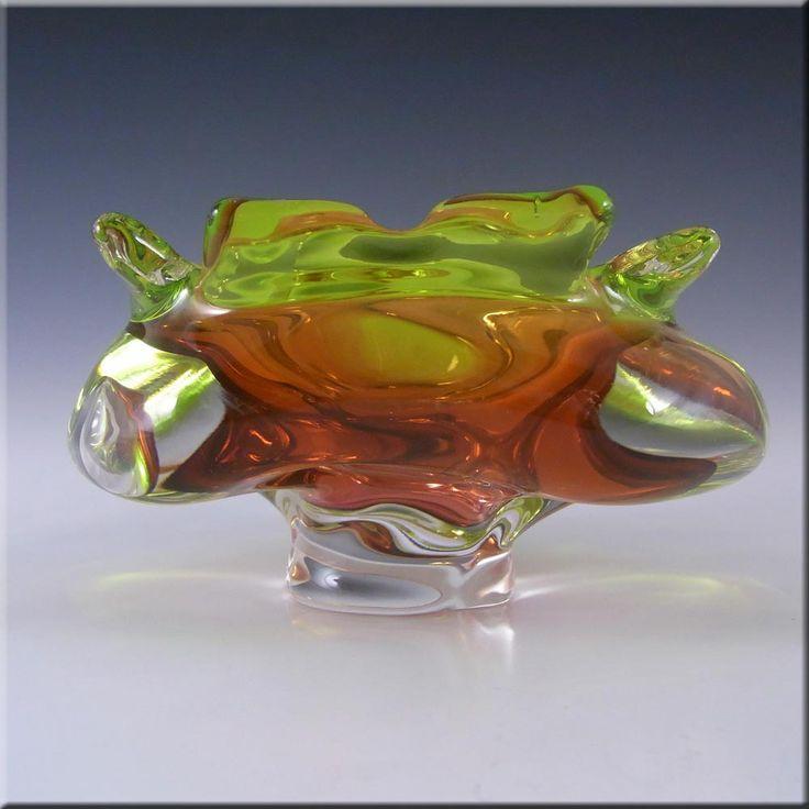 Chribska Czech Pink & Green Glass Bowl by Josef Hospodka - £30.00