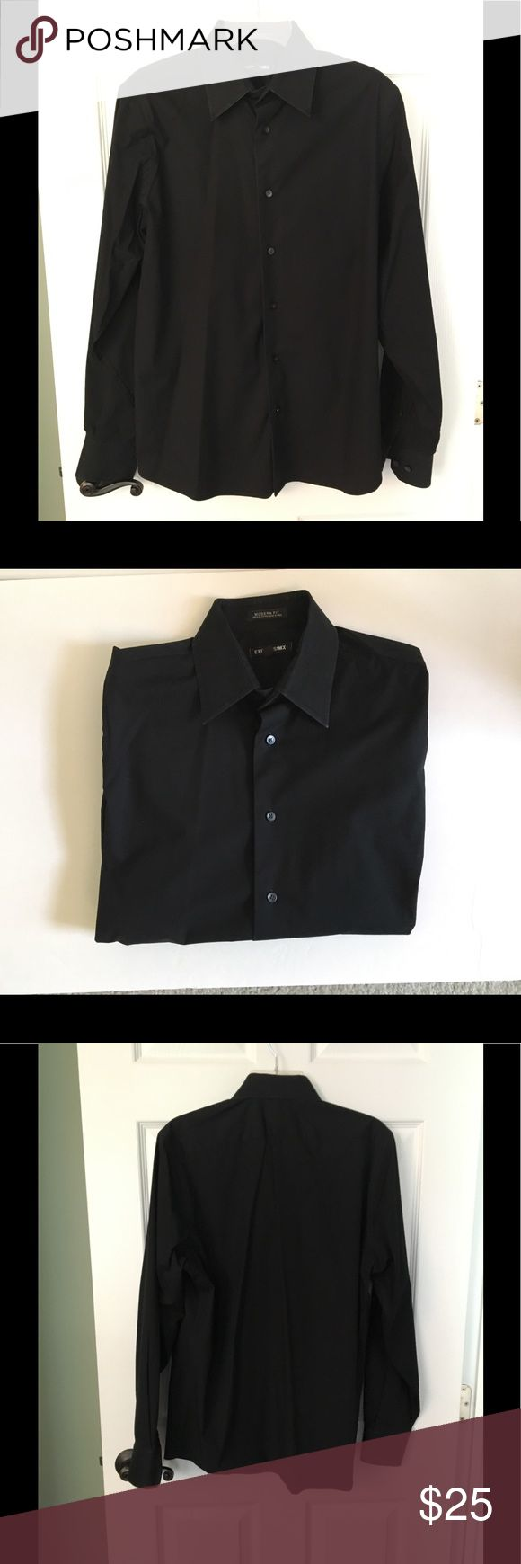 Express 1MX modern fit black dress shirt Express 1MX modern fit dress shirt, stretch cotton. Button down, buttons at wrists, extra buttons included. Freshly dry cleaned at an organic dry cleaners. Express Shirts Dress Shirts