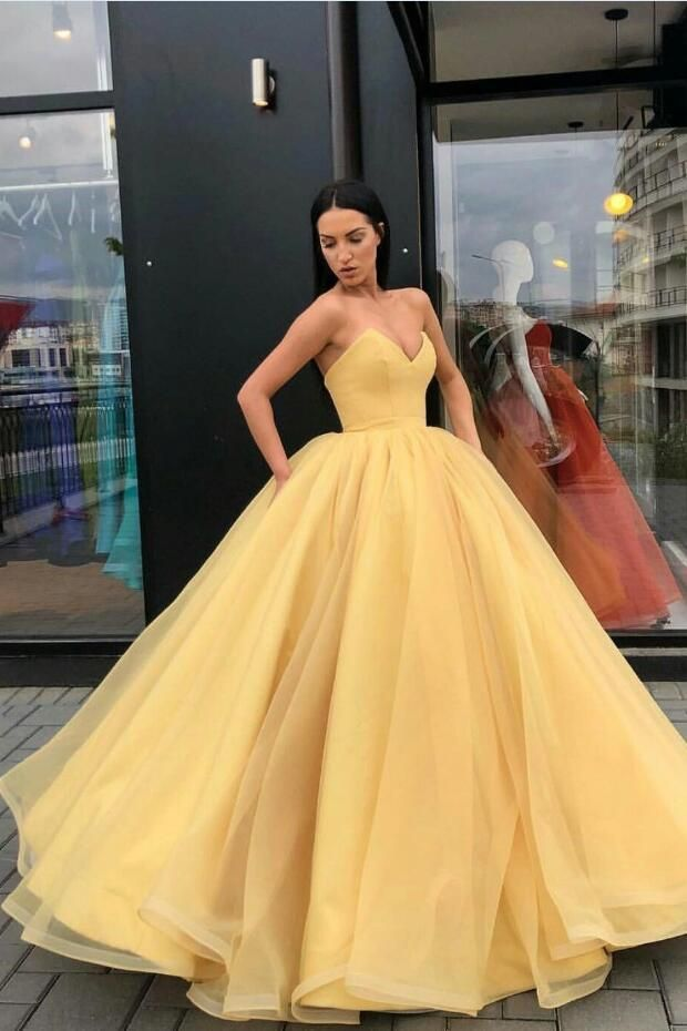 5d7cc42c24 Plunging Sweetheart Puffy Yellow Ball Gown Prom Dresses in 2019 ...