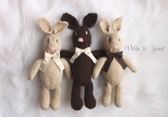 Knit Bunny 'Lapin' Rabbit Toy: Newborn Photography Prop/ Ready to Ship on Etsy, $35.00 CAD