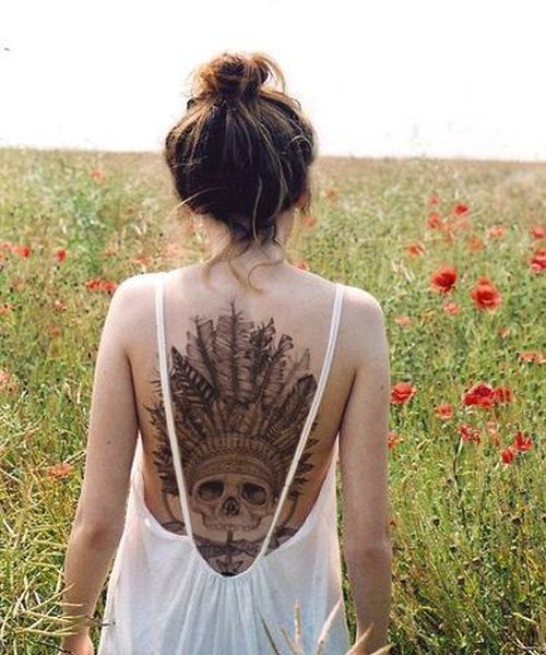 Top Wedding Bun With Full Back Tattoo Ideas