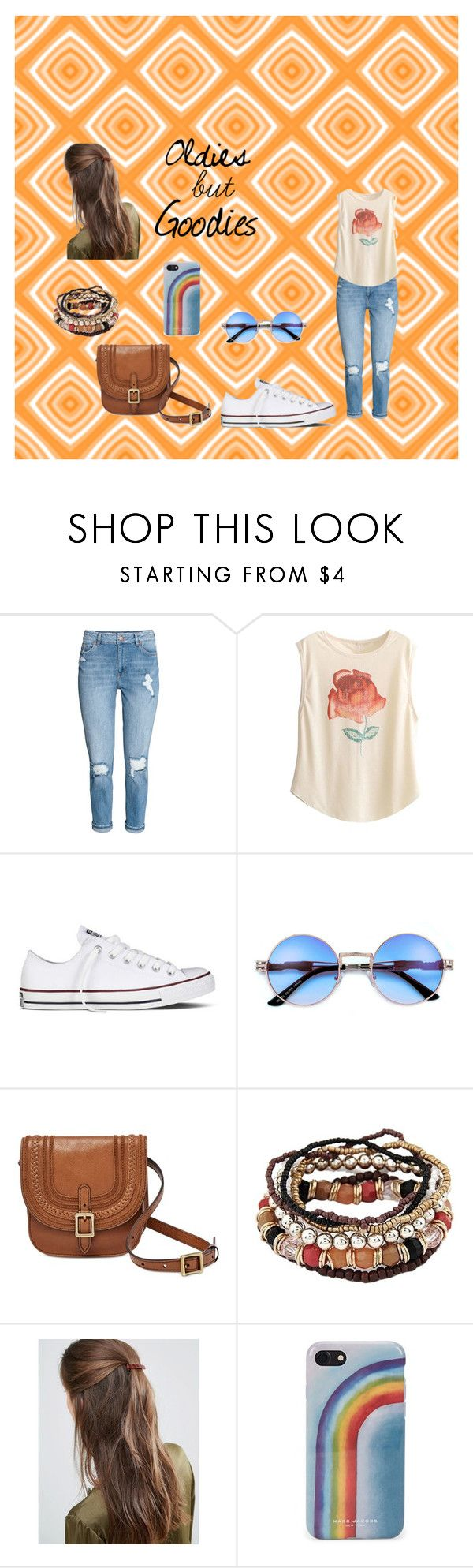 """oldies/ How to wear white converse"" by mathildepl07 on Polyvore featuring mode, Converse, FOSSIL, DesignB London, Marc Jacobs, denim, converse, roses, old et comeback"