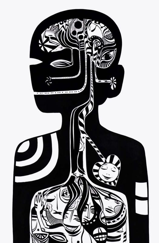 Lucy mclauchlan head brain graphics graphic design black white