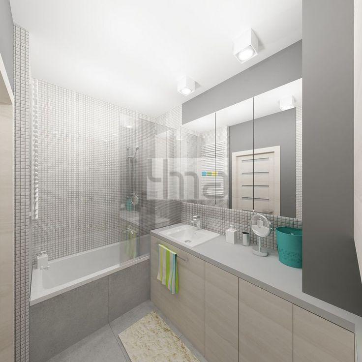 Dwupokojowe mieszkanie 48 m2 zaprojektowane dla młodej pary - http://4ma-projekt.pl Biało-szara kolorystyka z elementami jasnego drewna. Łazienka.