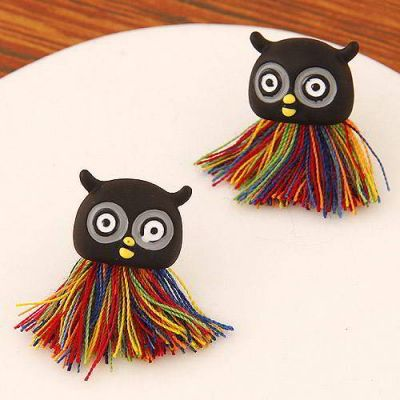 Tassel Decorated Owl Shape Design Black+multicolor. Fashionable with passion REPIN if you like it.😍 Only 35 IDR