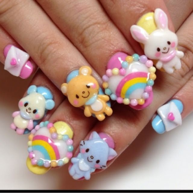 76 best Bling it On! Decora Gems & 3D Nail Art decoden images on ...