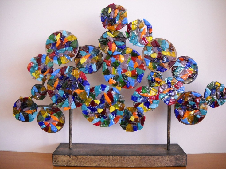 Fused glass sculpture by LynHunterDesigns on Etsy Great way to use up scrap!