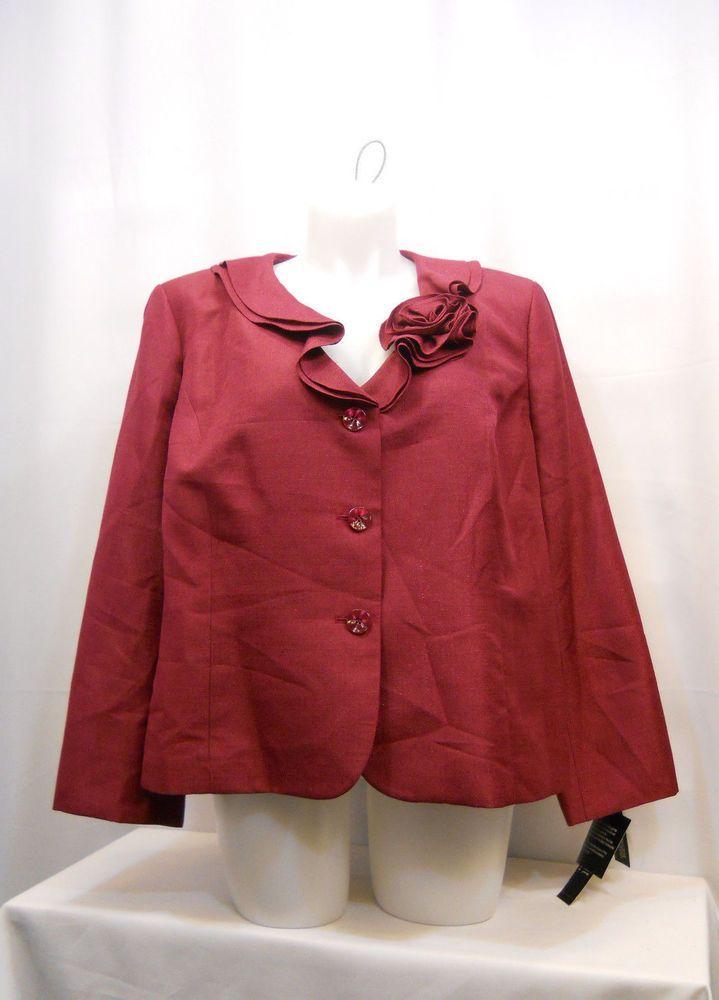 PLUS SIZE 24W Womens Suit Jacket LE SUIT Mulberry Red Ruffled Neck Flower Pin #LeSuit #Blazer