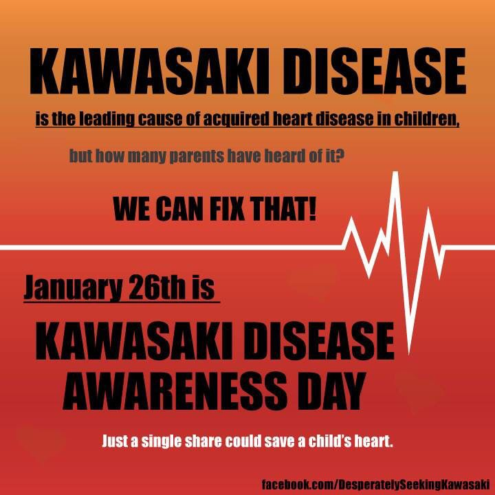 Kawasaki disease is the leading cause of acquired heart disease in children. Kawasaki Disease Awareness Day is January 26th.