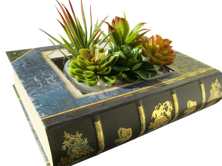 Book succulent decorative planter with faux succulents; Unique Gift Idea; Valentine's Day Gift For Teachers; Unique Birthday Gift; Boss Gift by buggyandbubba on Etsy https://www.etsy.com/listing/255360202/book-succulent-decorative-planter-with