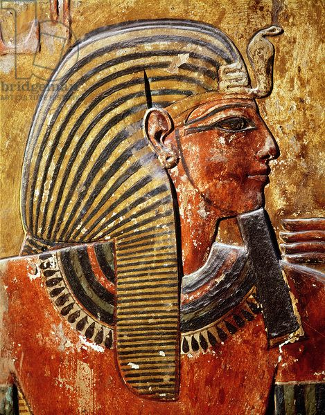 The head of Seti I (r.1294-1279 BC) from the Tomb of Seti, New Kingdom (wall painting)
