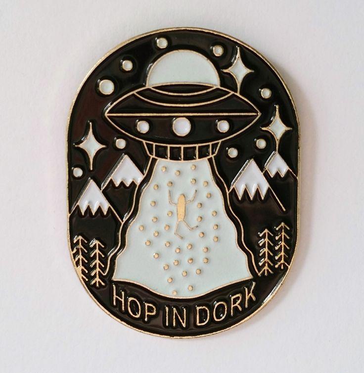 Glow in the dark UFO enamel pin! Hop in dork!